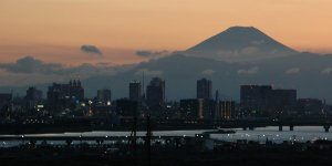 Город Кавасаки и гора Фудзи
