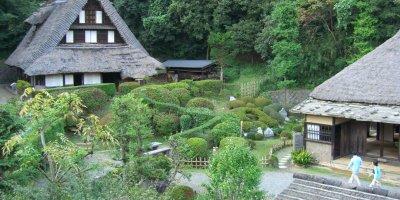 Традиционные дома в парке Нихон Минка-эн
