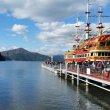 Хаконе. Круизный корабль на озере Аси и вид на гору Фудзи